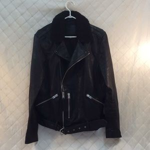 All Saints Leather Moto Jacket Shearling Mens L